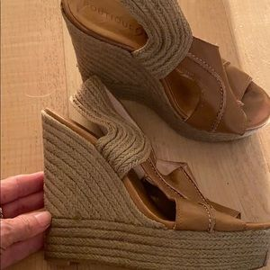 """Shoes - Boutique 9  tan leather/rope detail 5"""" wedges 6.5"""